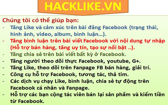 Các dịch vụ của Hacklike.vn